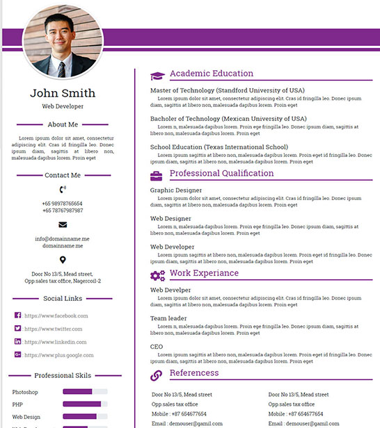 Free Personal, Profile, Resume HTML Website Template ...