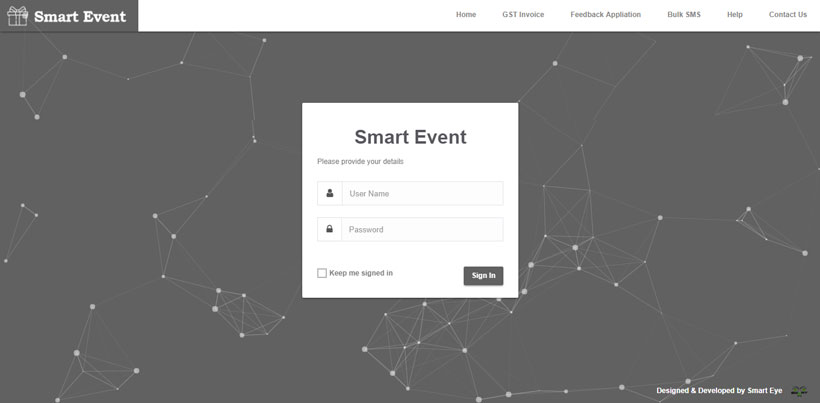 Event management System Login Page