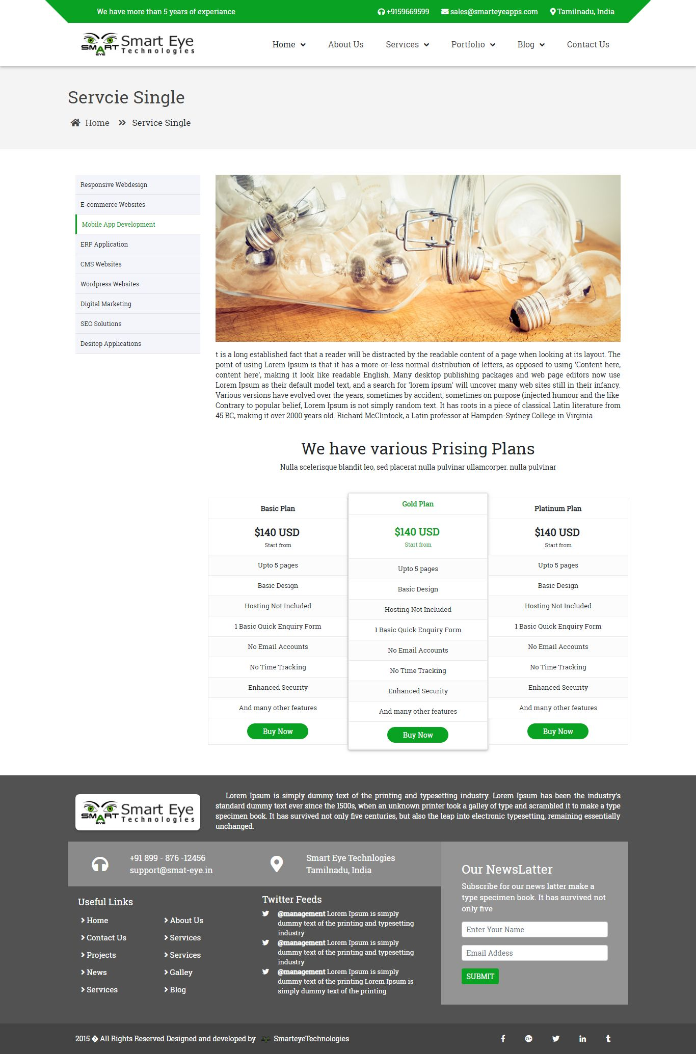 Smart Eye HTML Business website template services page