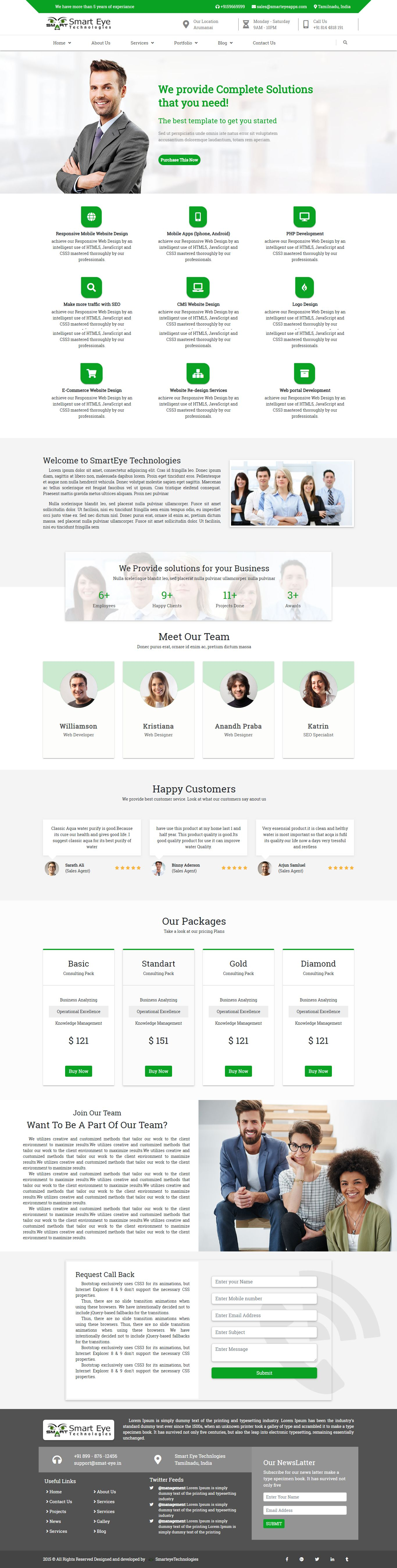 Smart Eye HTML Business website template home page 2