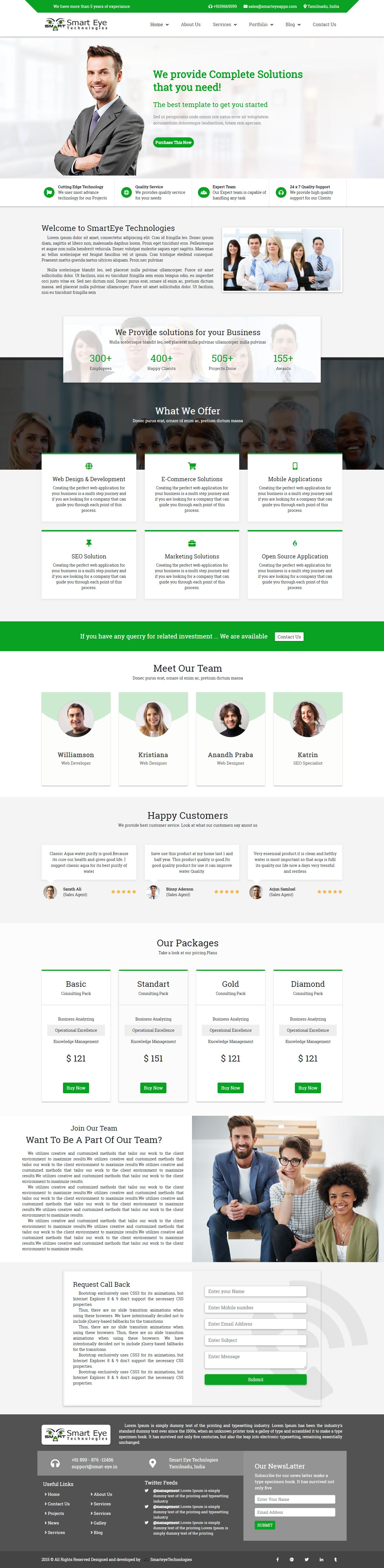Smart Eye HTML Business website template home page